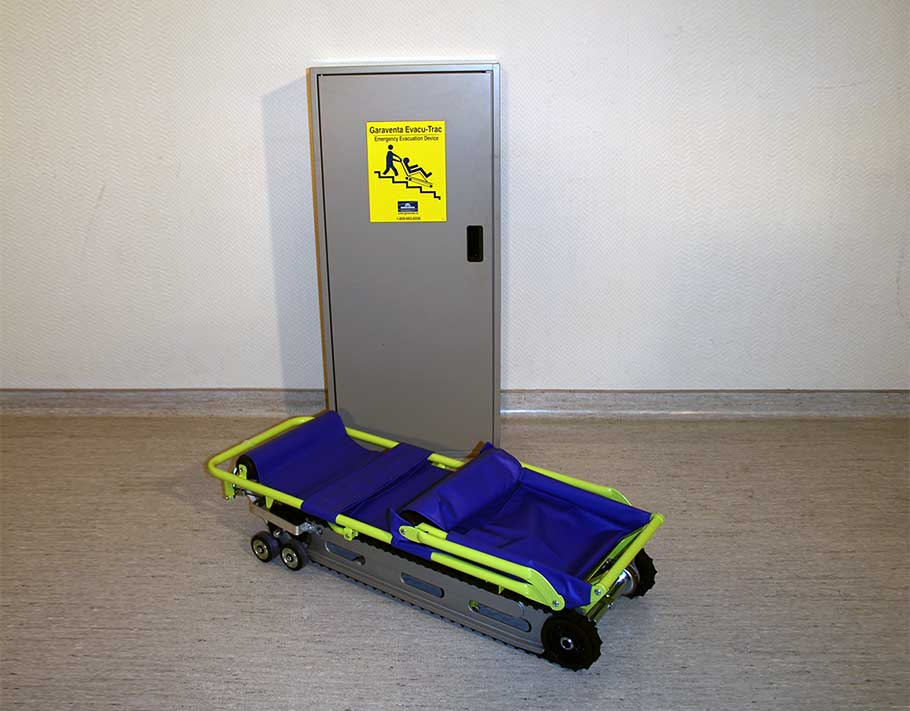 EvacuTrac Evacuation chair folded up on ground