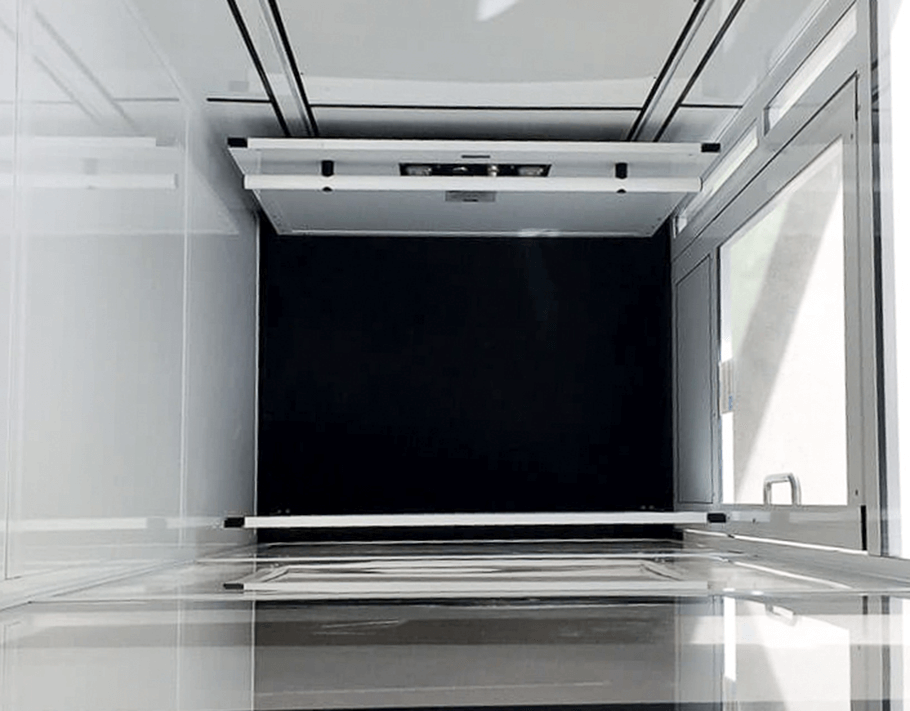 interior of the Genesis enclosure model vertical platform wheelchair lift