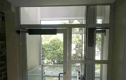 Genesis shaftway model vertical platform lift for wheelchairs with a view of outside