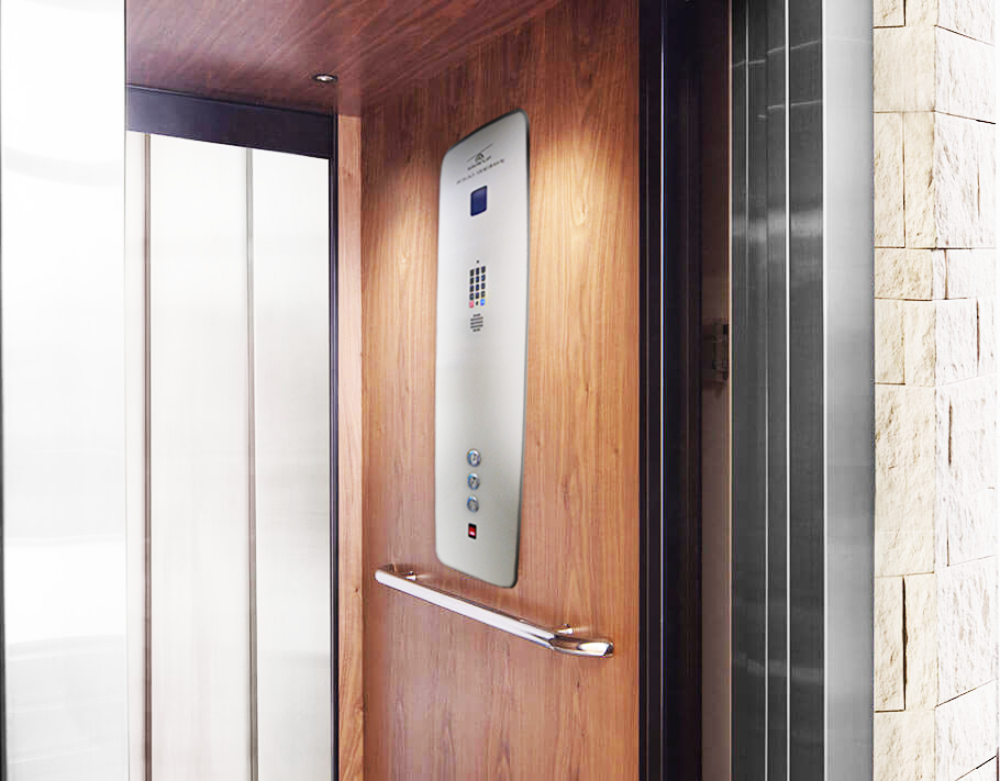 Elvoron home elevator with open doors showcasing the fixture in the cab